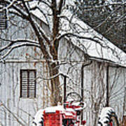 Farmall Tractor In Winter Poster by Timothy Flanigan