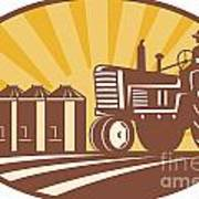 Farmer Driving Vintage Tractor Retro Woodcut Poster