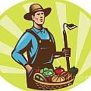 Farmer With Garden Hoe And Basket Crop Harvest Poster