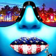 Fashionista Miami Blue Poster