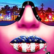 Fashionista Miami Pink Poster