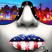 Fashionista Miami Silver Poster