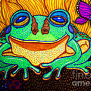 Fat Green Frog On A Sunflower Poster