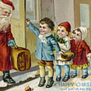 Father Christmas Disembarking Train Poster by Mary Evans