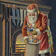 Father Christmas Filling Children's Stockings Poster