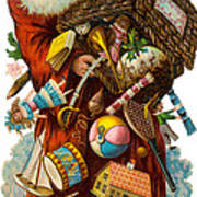 Father Christmas With Presents Poster