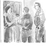 Fbi Agents At A Woman's Door Poster