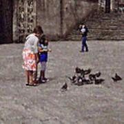 Feeding Pigeons In Santiago De Compostela Poster