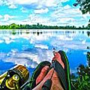 Feet Up Fishing Crab Orchard Lake Poster