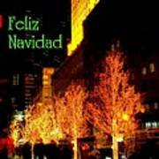 Feliz Navidad - Merry Christmas In New York - Trees And Star Holiday And Christmas Card Poster
