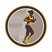 Female Marathon Runner Side View Retro Poster by Aloysius Patrimonio