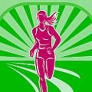 Female Run Marathon Retro Poster Poster