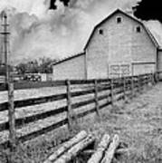 Fence Posts And Barn Poster