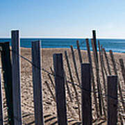 Fence Sand And Ocean Poster