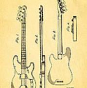Fender Precision Bass Guitar Patent Art 1953 Poster
