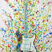Fender Stratocaster - Watercolor Portrait Poster