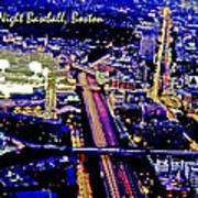Fenway Park Baseball Night Game Digital Art Poster