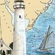 Fenwick Island Lighthouse De Nautical Chart Map Art Cathy Peek Poster