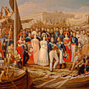 Ferdinand Vii Disembarking In The Port Of Santa Maria, 19th Century Oil On Canvas Poster