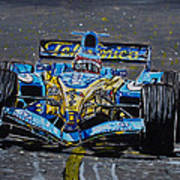 Fernando Alonso In Blue Poster