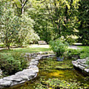 Fernwood Botanical Garden Frog Pond With Bench Niles Michigan Us Poster