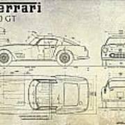 Ferrari 250 Gt Blueprint Antique Poster