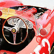 Ferrari Cockpit Monterey Watercolor Poster