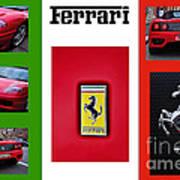 Ferrari Collage On Italian Flag Poster