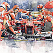 2012 Ferrari F 2012 Fernando Alonso Pit Stop Poster