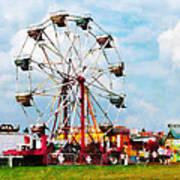 Ferris Wheel Against Blue Sky Poster