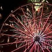 Ferris Wheel And Fireworks Poster