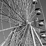 Ferris Wheel In Black And White Poster