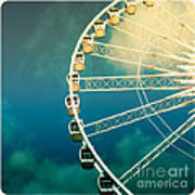 Ferris Wheel Old Photo Poster