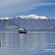 Ferry Boat On An Alpine Lake Poster