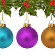 Festive Christmas Baubles Poster