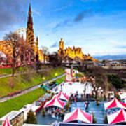 Festive Princes Street Gardens - Edinburgh Poster