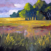 Field Grass Landscape Painting Poster