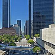 Financial District S. Flower Street Los Angeles Ca Poster by David Zanzinger