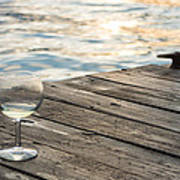 Finger Lakes Wine Tasting - Wine Glass On The Dock Poster