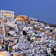Fira Town During Dusk Time Poster