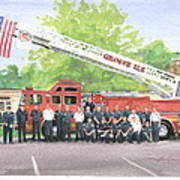 Fire Brigade Truck Watercolor Painting Poster