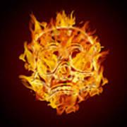 Fire Burning Flaming Skull Poster