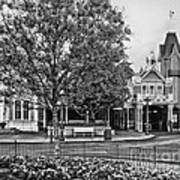 Fire Station Main Street In Black And White Walt Disney World Poster