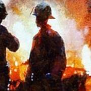 Firefighters At The Scene Poster