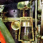 Fireman - Lantern On Fire Truck Poster