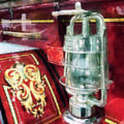 Fireman - Lantern On Old Fire Truck Poster