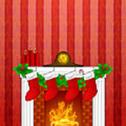 Fireplace Christmas Decoration Wth Stockings And Wallpaper Poster
