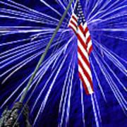Fireworks At Iwo Jima Memorial Poster by Francesa Miller