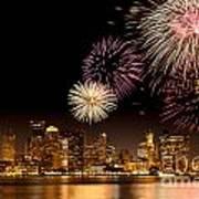 Fireworks Over Boston Harbor Poster