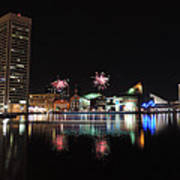 Fireworks Over Downtown Baltimore Poster